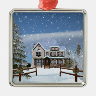 Christmas, House in Snowy Winter Scene Silver-Colored Square Decoration