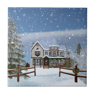 Christmas, House in Snowy Winter Scene Small Square Tile