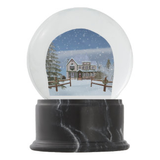 Christmas, House in Snowy Winter Scene Snow Globes
