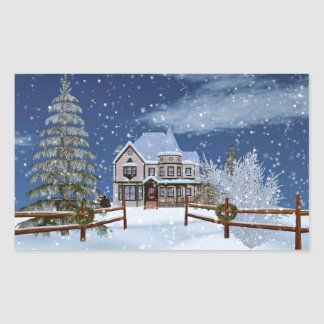 Christmas, House in Snowy Winter Scene Rectangular Stickers
