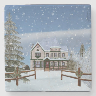 Christmas, House in Snowy Winter Scene Stone Coaster