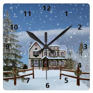 Christmas, House in Snowy Winter Scene Wallclock