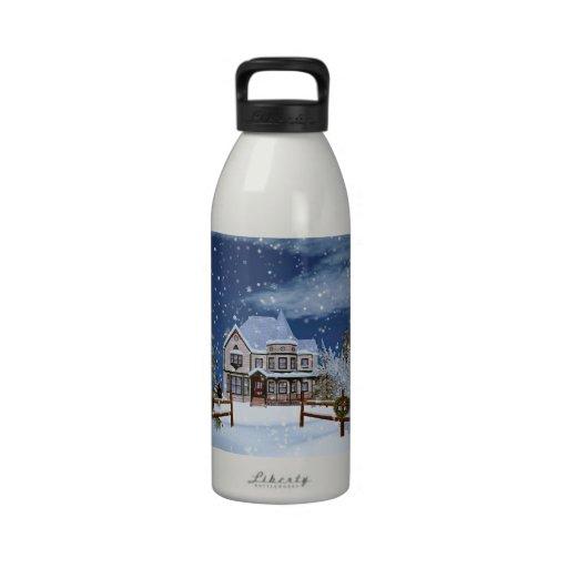 Christmas, House in Snowy Winter Scene Water Bottle