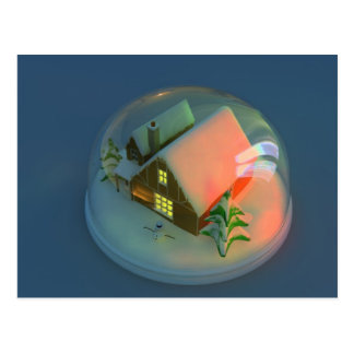 Christmas House snow globe Postcard