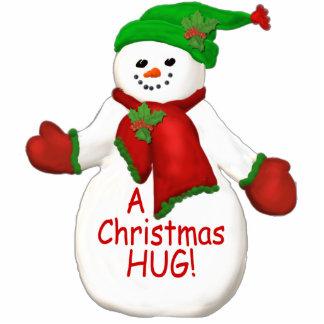 Christmas Hug Snowman Ornament Photo Sculpture Decoration