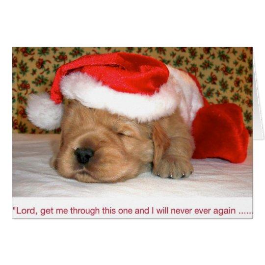 Christmas Humour, Golden Retriever Puppy Card