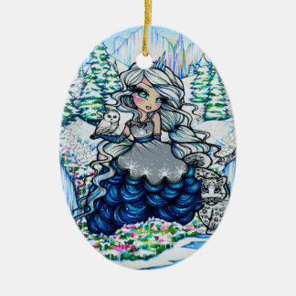 Christmas Ice Princess Snow Owl Art by Hannah Lynn Christmas Ornament