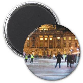 Christmas Ice Skating 6 Cm Round Magnet