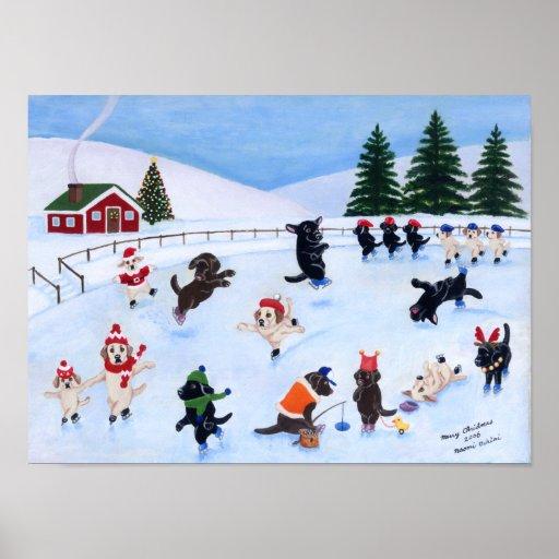 Christmas Ice Skating Labradors Artwork Poster