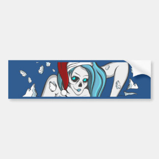 Christmas Ice Zombie Skeleton Bumper Sticker