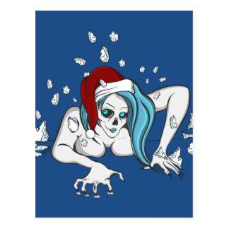 Christmas Ice Zombie Skeleton Postcard