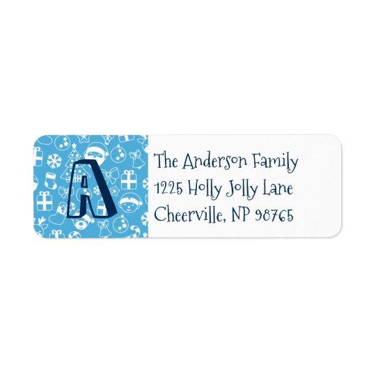 Christmas Icons Blue Santa Elf Snowman Monogram Return Address Label