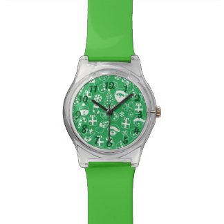 Christmas Icons Green Santa Elf Reindeer Pattern Wristwatch