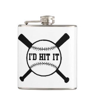 Christmas I'd hit it xmas baseball Flask