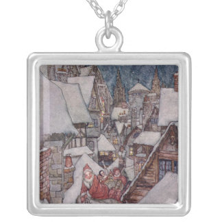 Christmas illustrations silver plated necklace