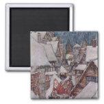 Christmas illustrations square magnet
