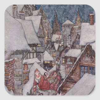 Christmas illustrations square sticker