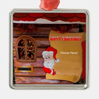 Christmas image for Premium-Square-Ornament Silver-Colored Square Decoration