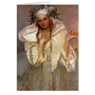 Christmas in America by Alphonse Mucha Card