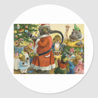 Christmas In Animal Land Classic Round Sticker