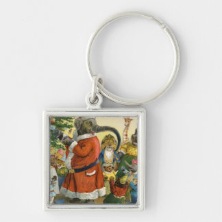Christmas In Animal Land Silver-Colored Square Key Ring
