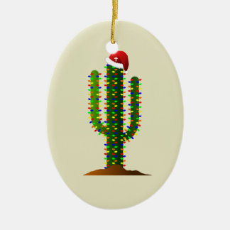 Christmas in Arizona Saguaro Cactus Lights Christmas Ornament