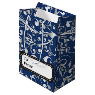 Christmas in blue & silver medium gift bag