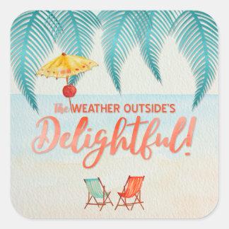 Christmas in Florida Delightful Weather Watercolor Square Sticker