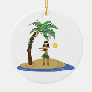 Christmas in Hawaii Round Ceramic Decoration