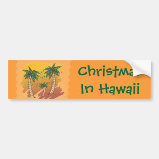 Christmas in Hawaii Tropical Palms Bumper Sticker