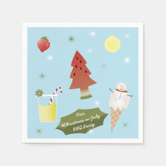 Christmas in July BBQ Party Custom Napkins Disposable Serviettes