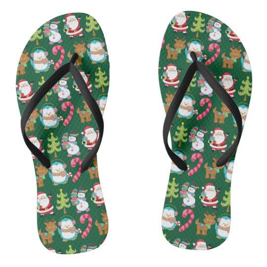 Christmas in July Cute Green Flip Flops