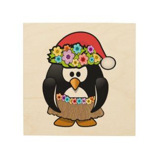Christmas in July Penguin Wood Print