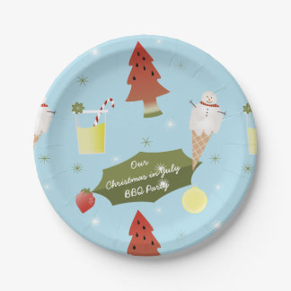 Christmas in July Summer BBQ Party Paper Plates 7 Inch Paper Plate