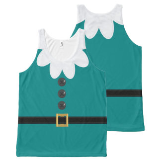 Christmas in July Teal Elf Novelty Tank Top