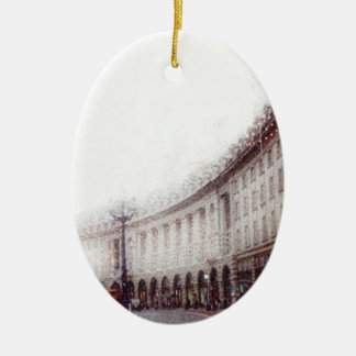 Christmas in London Ceramic Oval Decoration