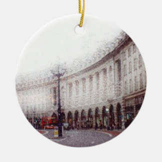 Christmas in London double-sided Round Ceramic Decoration