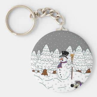 Christmas in Magic Tree Wood Key Ring