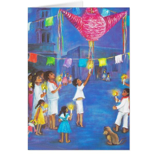 Christmas in Mexico, Candles, fireworks,  pinatas Card