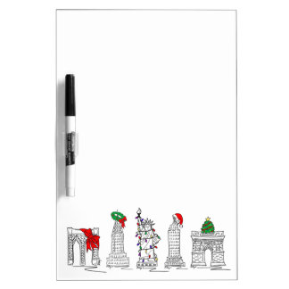 Christmas in NYC New York City Holiday Landmarks Dry Erase Board