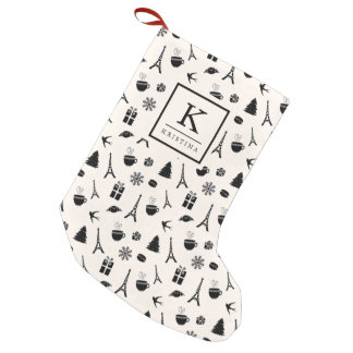 Christmas in Paris | Monogrammed Small Christmas Stocking