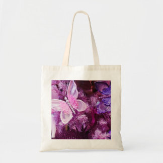 Christmas In Pink And Purple Budget Tote Bag