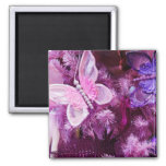 Christmas In Pink And Purple Square Magnet