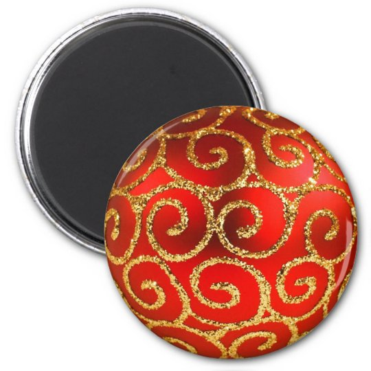 Christmas In Red And Gold 6 Cm Round Magnet