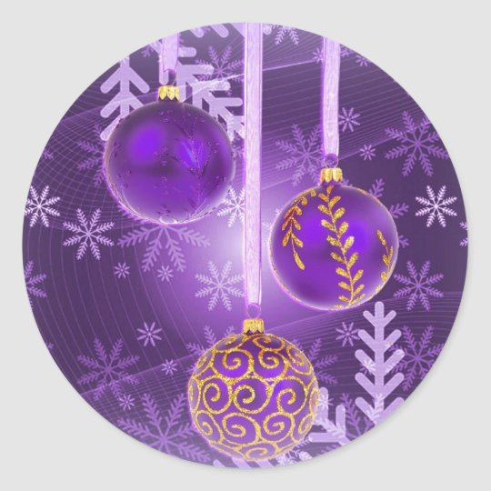 Christmas in royal purple postcard classic round sticker