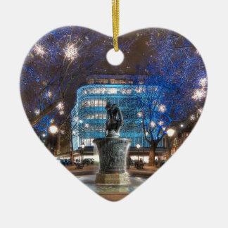 Christmas in Sloane Square Ceramic Heart Decoration