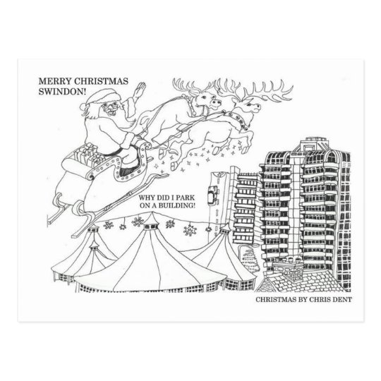 Christmas in Swindon town postcard