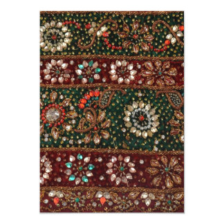 Christmas India Indian Textile Embroidery Bling 13 Cm X 18 Cm Invitation Card