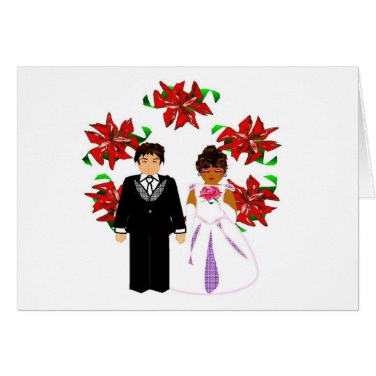 Christmas Interracial Wedding Couple With Wreath Card