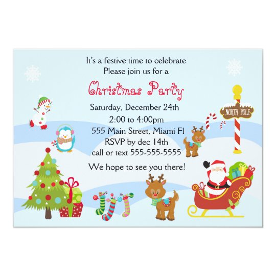 christmas invitation kids party snowman santa